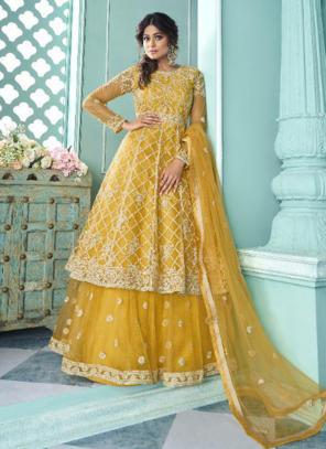 Wedding Wear Yellow Embroidery Work Net Lehenga Suit