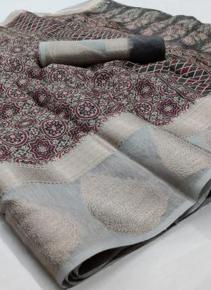 Traditional Wear Brown Jacquard Border Linen Saree
