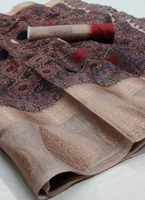 Traditional Wear Dark Brown Jacquard Border Linen Saree