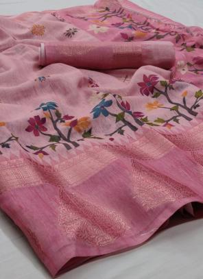 Traditional Wear Pink Jacquard Border Linen Saree