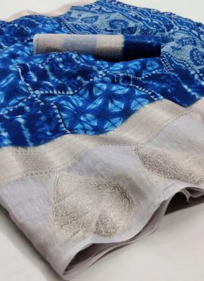 Traditional Wear Royal Blue Jacquard Border Linen Saree