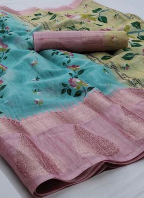 Traditional Wear Sky Blue Jacquard Border Linen Saree
