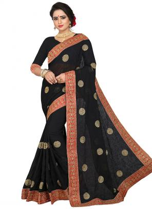 Party Wear Black Zari Resham Work Georgette Saree