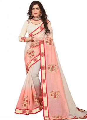 Party Wear Cream Zari Resham Work Art Silk Saree