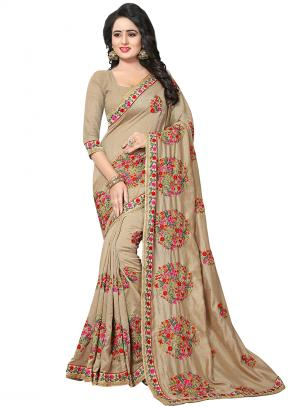 Party Wear Cream Zari Resham Work Vichitra Silk Saree