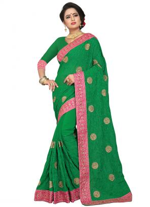 Party Wear Green Zari Resham Work Georgette Saree