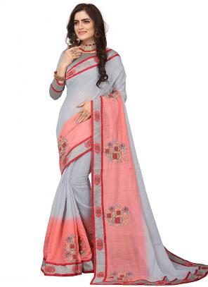 Party Wear Grey Zari Resham Work Art Silk Saree