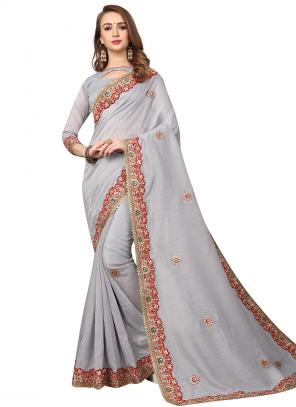 Party Wear Light Grey Zari Resham Work Cotton Silk Saree