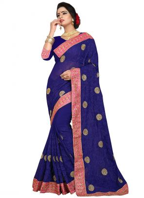 Party Wear Navy Blue Zari Resham Work Georgette Saree