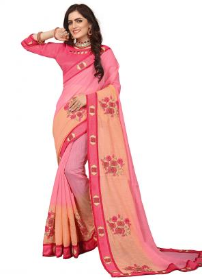 Party Wear Pink Zari Resham Work Art Silk Saree