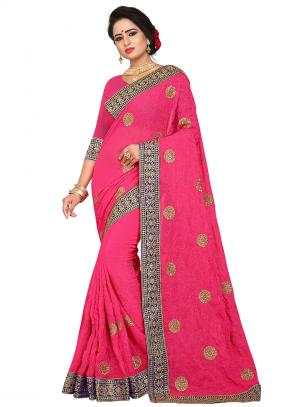 Party Wear Rani Zari Resham Work Georgette Saree