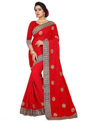 Party Wear Red Zari Resham Work Georgette Saree