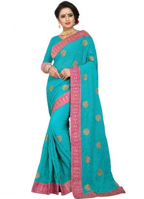 Party Wear Sky Blue Zari Resham Work Georgette Saree