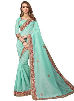 Party Wear Teal Blue Zari Resham Work Cotton Silk Saree