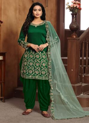 Festival Wear Green Embroidery Work Art Silk Patiyala Suit