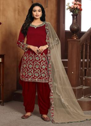 Festival Wear Maroon Embroidery Work Art Silk Patiyala Suit