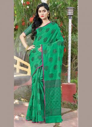 Traditional Wear Green Weaving Handloom Cotton Saree