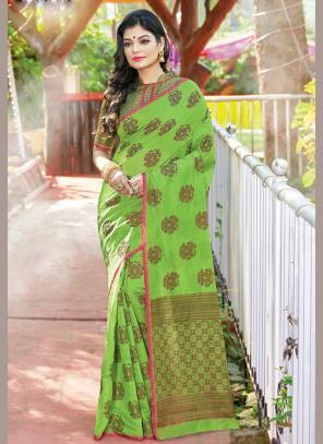 Traditional Wear Light Green Weaving Handloom Cotton Saree