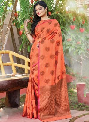 Traditional Wear Peach Weaving Handloom Cotton Saree