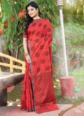 Traditional Wear Red Weaving Handloom Cotton Saree