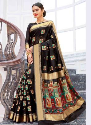 Party Wear Black Weaving Pure Chanderi Cotton Saree