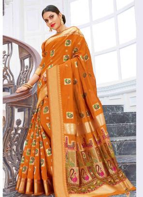 Party Wear Orange Weaving Pure Chanderi Cotton Saree