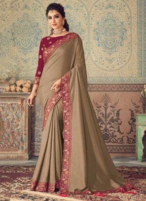 Party Wear Brown Border Work Vichitra Silk Saree