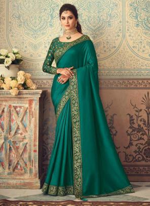 Party Wear Green Border Work Vichitra Silk Saree