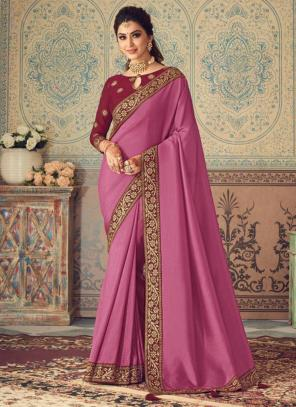 Party Wear Pink Border Work Vichitra Silk Saree