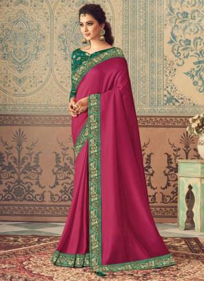 Party Wear Rani Border Work Vichitra Silk Saree