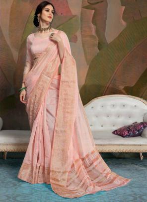 Party Wear Light Pink Weaving Linen Saree
