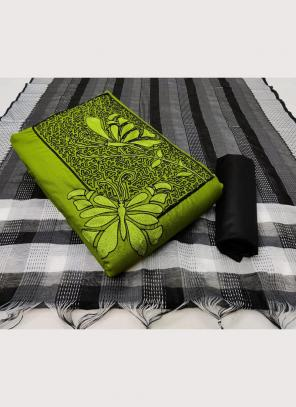 Casual Wear Green Embroidery Work Slub Cotton Salwar Suit