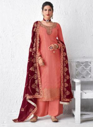 Festival Wear Pink Embroidery Work Dola Silk Palazzo Suit