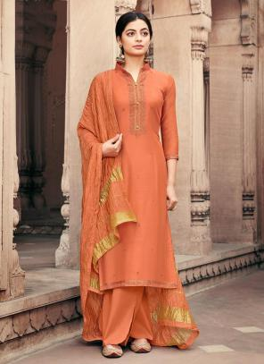 Traditional Wear Beige Embroidery Work Viscose Muslin Palazzo Suit