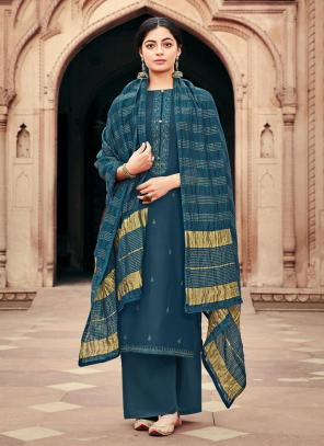 Traditional Wear Blue Embroidery Work Viscose Muslin Palazzo Suit