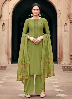 Traditional Wear Green Embroidery Work Viscose Muslin Palazzo Suit