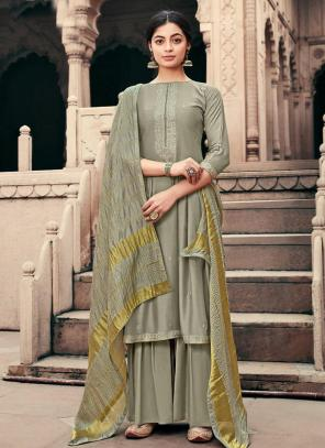 Traditional Wear Grey Embroidery Work Viscose Muslin Palazzo Suit