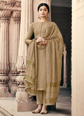 Traditional Wear Peach Embroidery Work Viscose Muslin Palazzo Suit