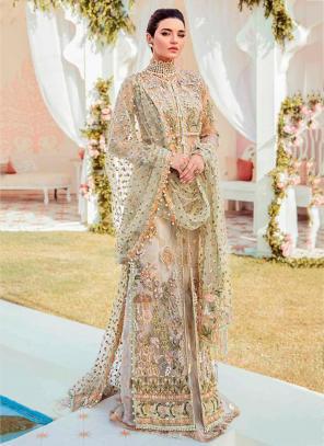Festival Wear Cream Embroidery Work Butterfly Net Pakistani Suit