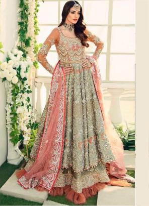 Wedding Wear Pista Green Heavy Embroidery Work Butterfly Net Pakistani Suit