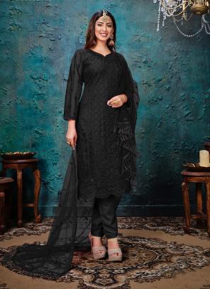Festival Wear Black Embroidery Work Net Churidar Suit