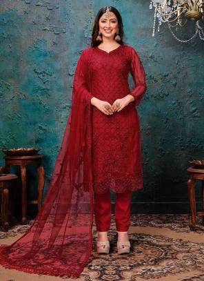 Festival Wear Red Embroidery Work Net Churidar Suit
