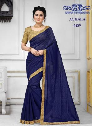 Party Wear Blue Lace Border Work Jacquard Saree