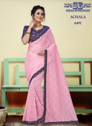 Party Wear Pink Lace Border Work Jacquard Saree