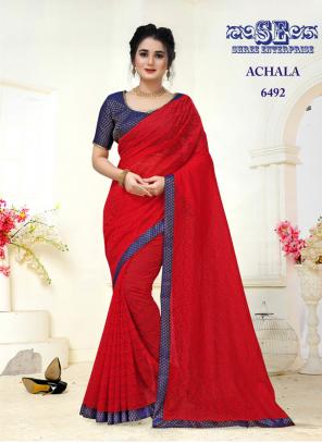Party Wear Red Lace Border Work Jacquard Saree