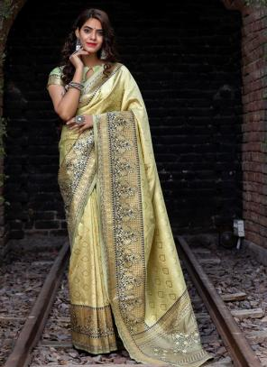 Festival Wear Beige Weaving Silk Saree