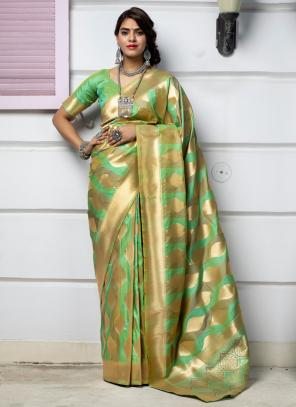 Festival Wear Light Green Weaving Silk Saree