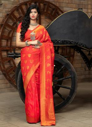 Festival Wear Orange Weaving Silk Saree