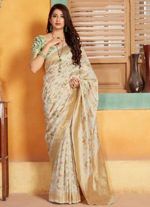 Party Wear Cream Weaving Silk Saree