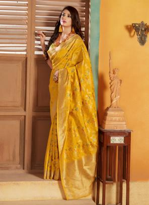 Party Wear Yellow Weaving Silk Saree